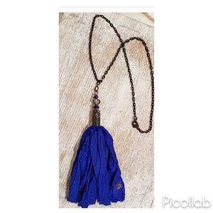 Royal Blue Sari Silk Bullet Casing Necklace